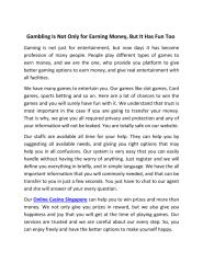Gambling Is Not Only for Earning Money, But It Has Fun Too.pdf