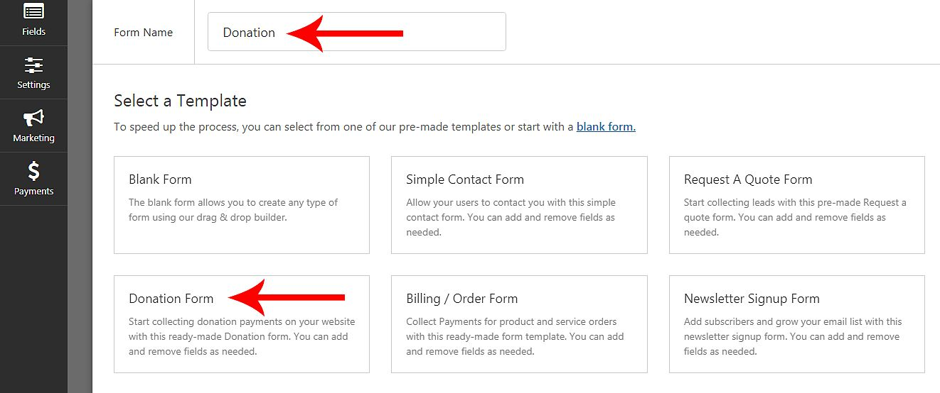 how to create a donation form