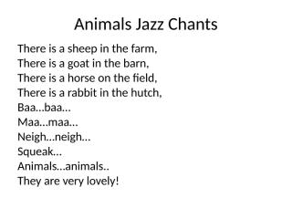 Animals Jazz Chants.ppt